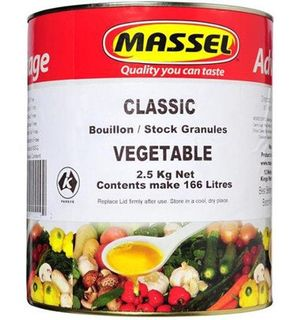VEGETABLE STOCK POWDER G/F D/F 2.5KG MASSEL