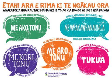 Five Ways Poster te reo Maori A2