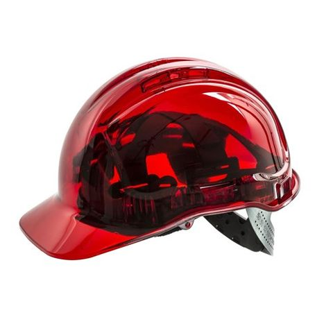 HARD HAT VENTED CLEARVIEW RED
