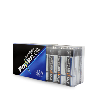 BATTERY POWERCELL ALK AA - 16 PER PACK
