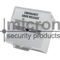 Micron RESETABLE White Glass Break Labelled Emergency Door Release. Double Pole