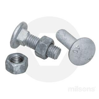COACH BOLT/NUT MILD STEEL M12X35 GALV