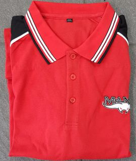 POLO SHIRT RED & BLACK EMBROIDERED - M