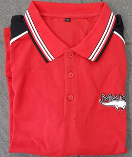 POLO SHIRT RED & BLACK EMBROIDERED - L
