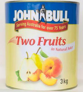"Two Fruits Nat Juice ""John Bull"" A10 tin"