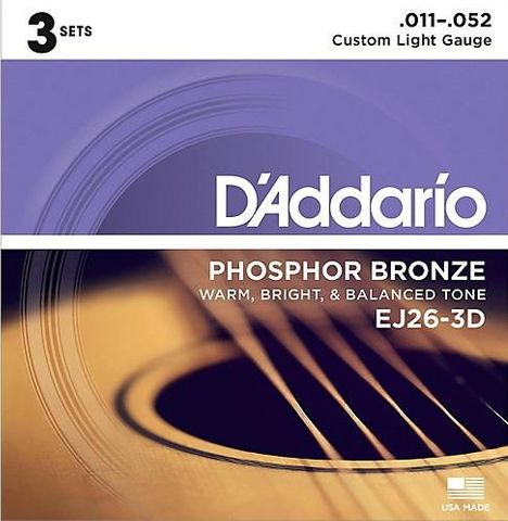 Daddario EJ26 3D 3 Pack Strings