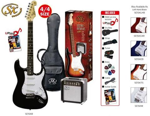 SX BLACK LEFT HAND Electric Guitar Kit