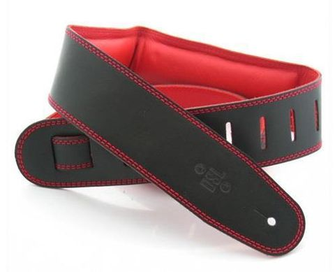 DSL 2.5in Black Red Padded Leather Strap