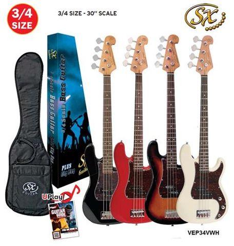 SX 3/4 Vintage White Bass Guitar