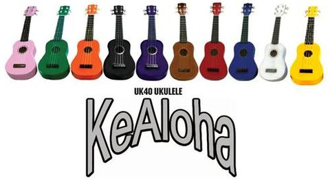 Kealoha UK40 White Ukulele with bag