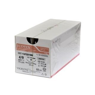 Vigilenz Ecosyn 4-0 19mm CD 75cm Undyed Sutures - Box (12)