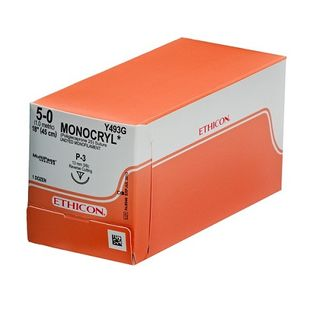 Monocryl 5/0 Suture Undyed 11mm P-1 45cm - Box (12)
