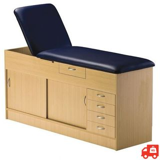 Fixed Combination Cabinet Couch - Beech, Black Vinyl