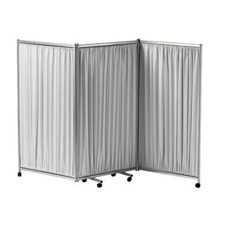 Three Panel Folding Mobile Screen - Grey Frame and Curtains