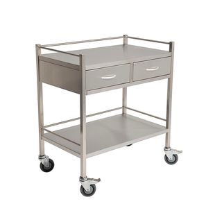 Qube Stainless Steel Instrument Trolley 2 Drawers Side by Side W800 x D500 x H900mm