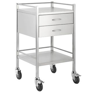 Qube Stainless Steel Instrument Trolley 2 Drawers W500 x D500 x H900mm
