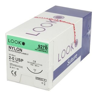 Look Nylon 5/0 Suture 45cm 12mm C17 - Box (12)