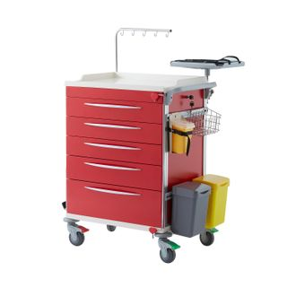 Red Emergency Cart 5 Drawer