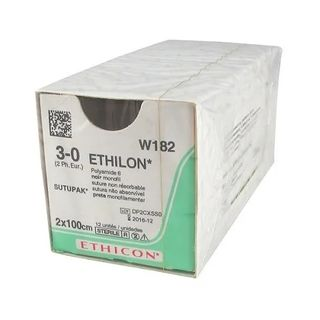 Ethilon 3/0 Suture Black 45cm 19mm - Box (12)
