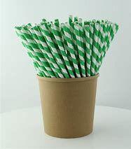 Straws Paper Green/White Reg
