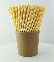 Straws Paper Yellow/White Reg