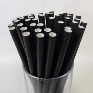 Straws Paper Black Regular