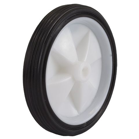 130mm Rubber Tyre Nylon Centred M10 Axle