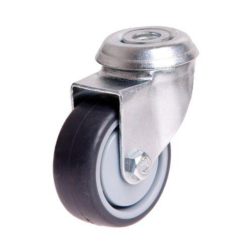 50mm Rubber Wheel M10 Hole 30kg Swivel