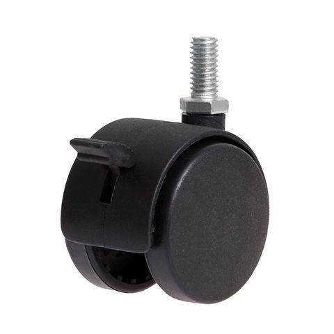 (2) Twin Wheel Threaded Stem Castors Wit