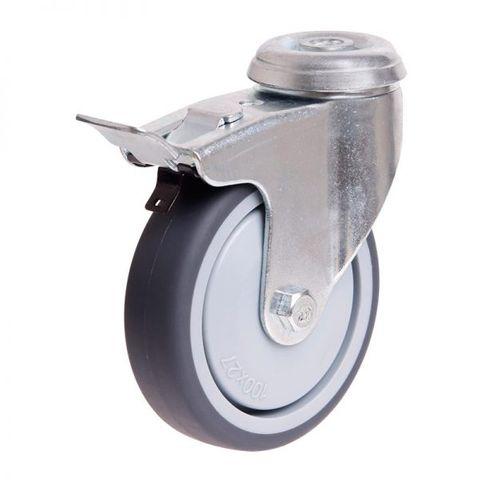 100mm Rubber Wheel 70kg Capacity W/Brake