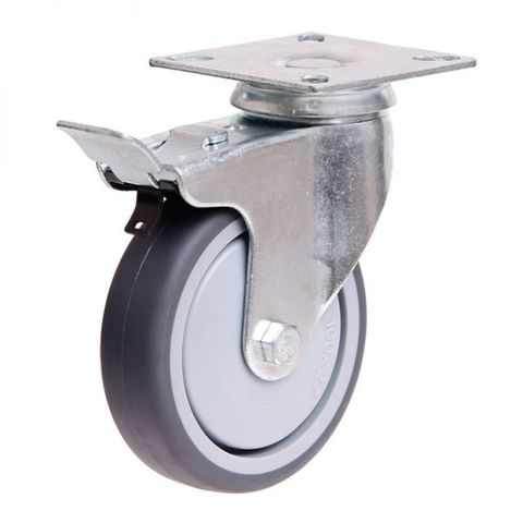 100mm Rubber Wheel 70kg Capacity W/Brake