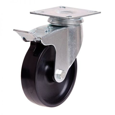 100mm Nylon Wheel 70kg Capacity W/Brake