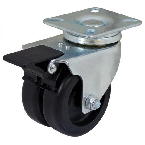 75mm Nylon Swivel Twin  Plate W/Brake