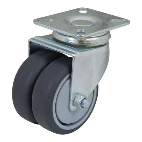 50mm Rubber Swivel Twin  Plate