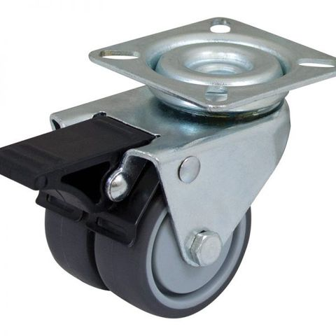 50mm Rubber Swivel Twin  Plate W/Brake