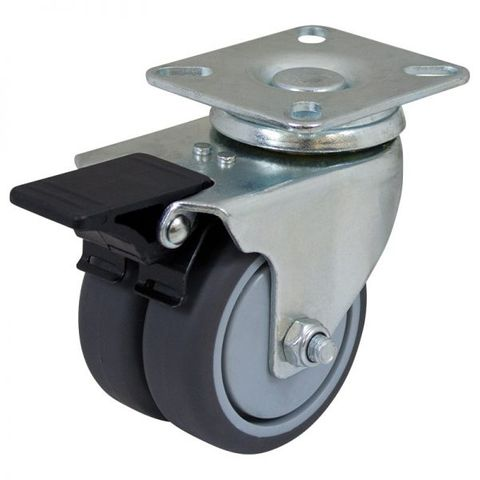 75mm Rubber Swivel Twin Plate W/Brake