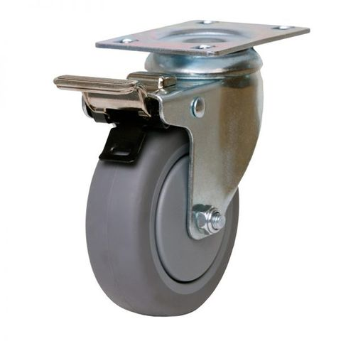 100mm Inst Rubber Wheel 100kg W/Brake
