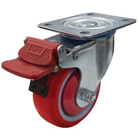 100mm Poly/Nylon Wheel 150kg W/Brake