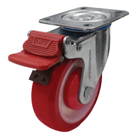 125mm Poly/Nylon Wheel 150kg W/Brake