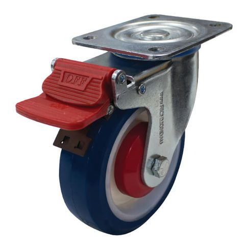 125mm Rebound Rubber Wheel 150kg W/Brake