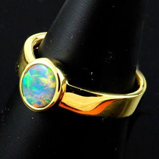 18K Yellow Gold Black Opal Ring