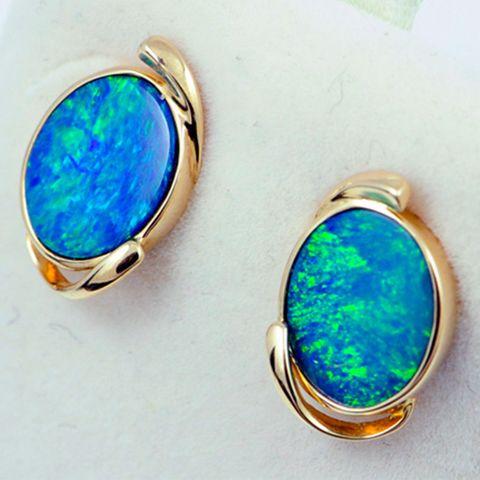 14K Yellow Gold Doublet Opal Earrings