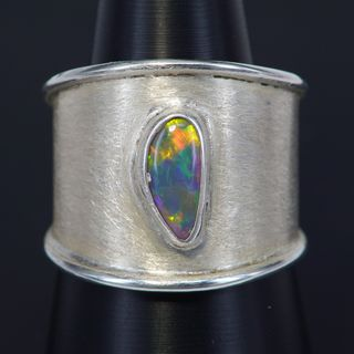 Sterling Silver Black Crystal Opal Ring
