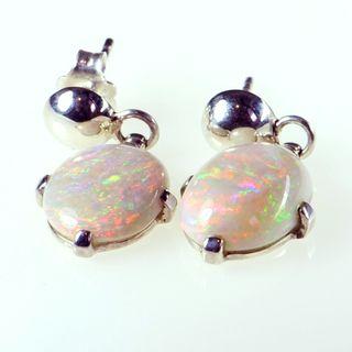 Sterling Silver Light Opal Earrings