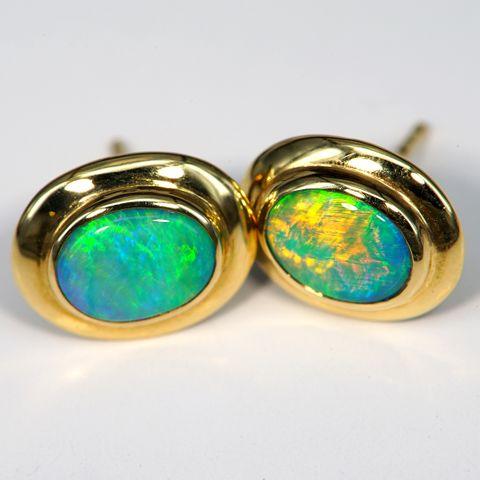 18K Yellow Gold Black Opal Stud Earrings
