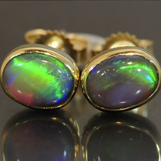 9K Yellow Gold Black Opal Earrings