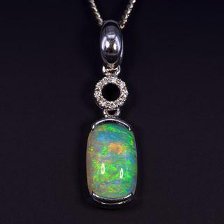 18K White Gold Light Opal Pendant