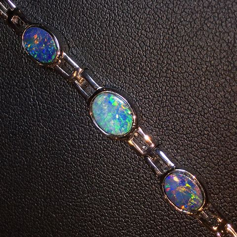 Sterling Silver Doublet Opal Bracelet