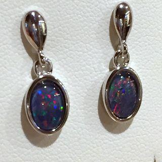 Triplet Opal in a Sterling Silver Earrings