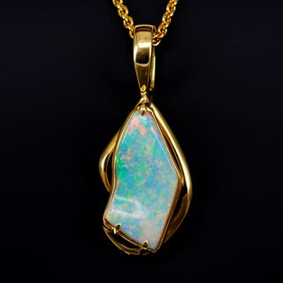 18K Yellow Gold Light Opal Pendant / Enhancer